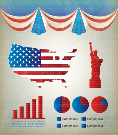 United states icons over vintage background vector illustration Vector