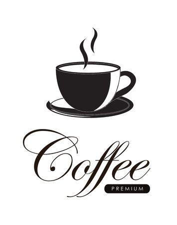 Coffee label over white backgorund vector illustration