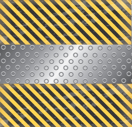 Caution background with chrome ribbon vector illustration Stock Vector - 19465877