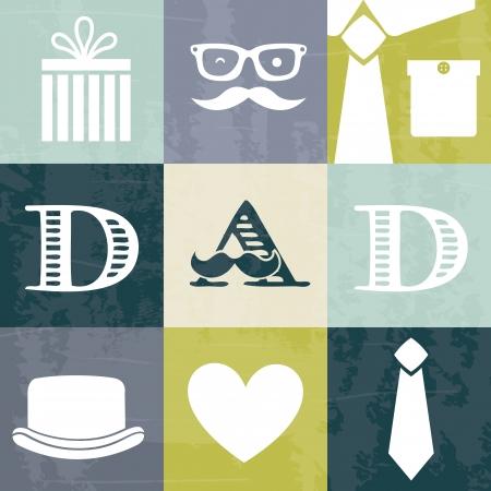 day of father: padri carta di giorno, stile retr�. illustrazione vettoriale Vettoriali