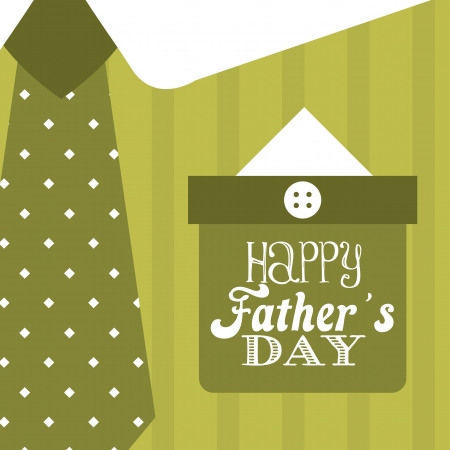green dress: fathers day card over green background. vector illustration