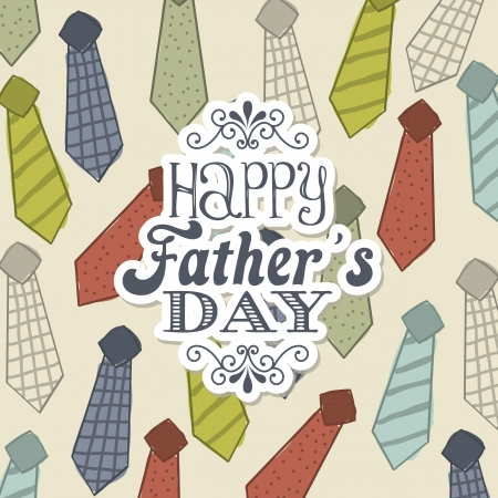 father's: fathers day card over beige background. vector illustration Illustration