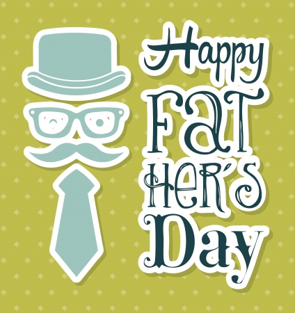 fathers day card over green background. vector illustration