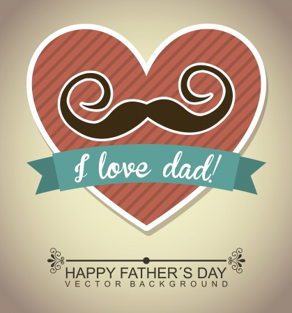 happy fathers day card: fathers day card, retro style. vector illustration Illustration