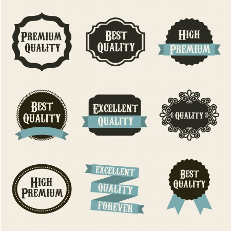 confirm confirmation: premium quality labels over beige background. vector illustration