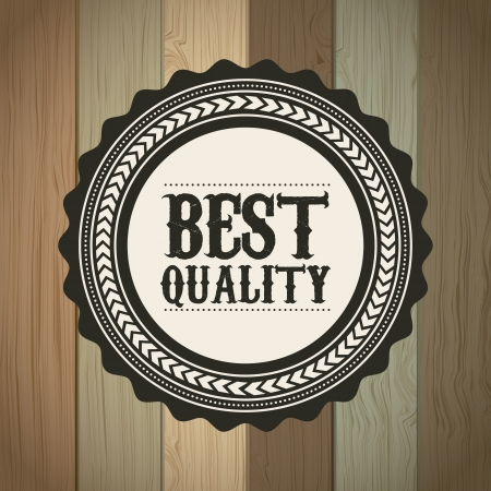 best quality over wooden background. vector illustration Stock Vector - 19465894