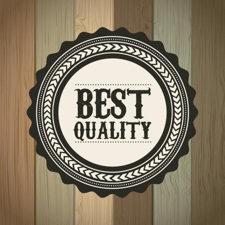 approbation: migliore qualit� su sfondo in legno. illustrazione vettoriale