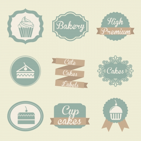 bakery products: bakery labels over beige background. vector illutration Illustration
