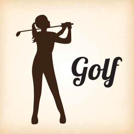 playing golf: Woman golf player over beige background vector illustration