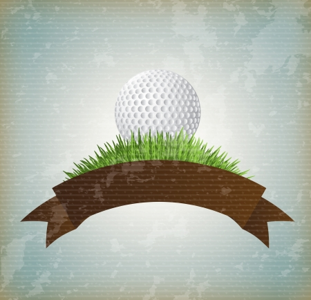 playing golf: ball golf over vintage background vector illustration