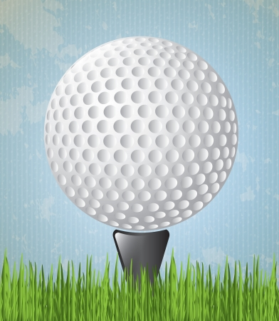 ball golf over pin, sky background ,vector illustration Vector