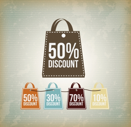 markdown: shop bag discount over vintage background vector illustration Illustration