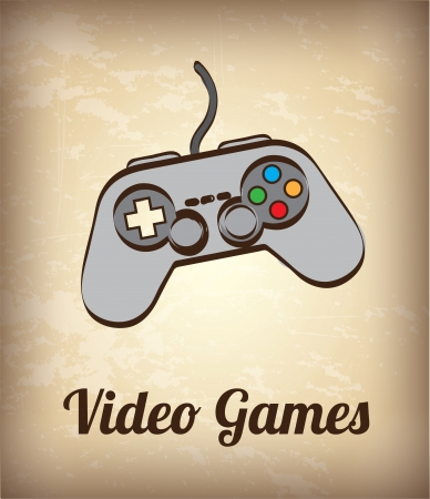 video game controller over vintage background vector illustration Stock Vector - 19626028