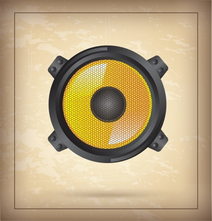 speaker yellow over vintage background vector illustration  Vector