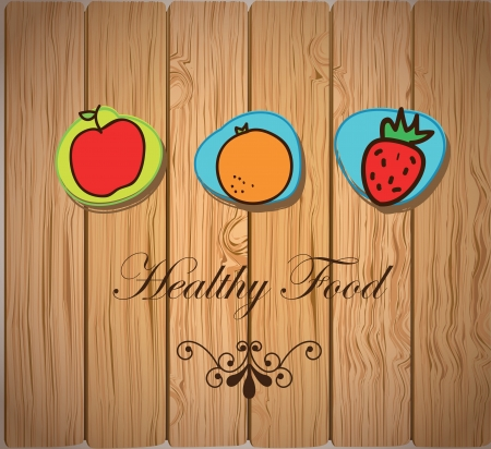 healthy food icons over wood background vector illustration Vector