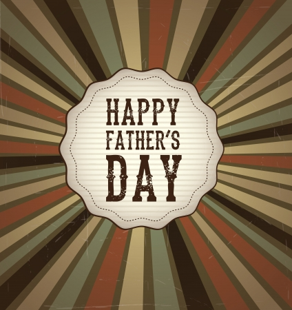 happy fathers day card: fag  happy fathers day over vintage background vector illustration Illustration