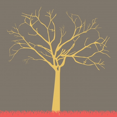 barren: tree autumn over purple background vector illustration Illustration