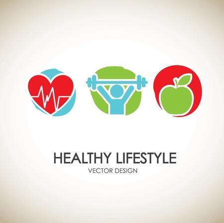 stile di vita: Icone di stile di vita sano su sfondo vintage illustrazione vettoriale