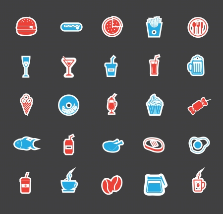food icons over black background vector illustration Vector
