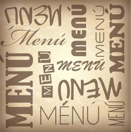 Words menu over brown background vector illustration Vector