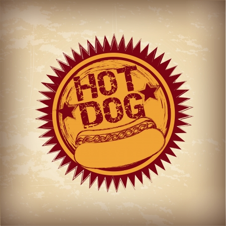 hot announcement: Hot dog over vintage background vector illustration Illustration