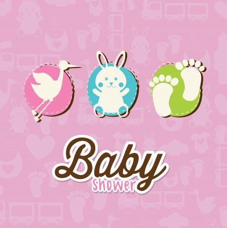 romper: baby card over pink background vector illustration