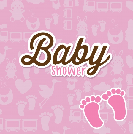baby card over pink background vector illustration Vector