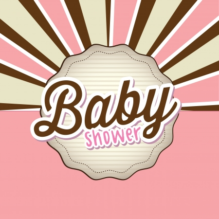 romper: Baby card over brown and pink background Illustration
