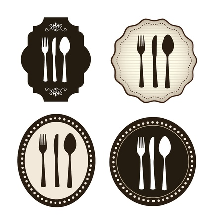 cuchara y tenedor: Iconos de cuchiller�a sobre fondo blanco ilustraci�n vectorial