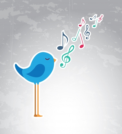 Note musical and bird over vintage background Vector