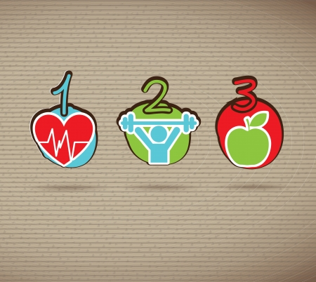 Healthy icons over brown background vector illustration Stock Vector - 19625884