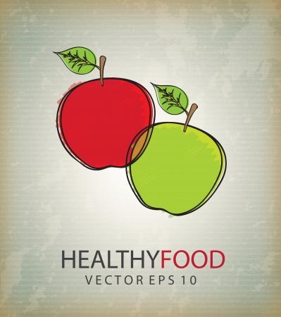 Healthy food over vintage background vector illustration