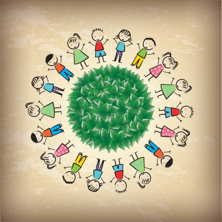school play: Children around of world over vintage background  Illustration