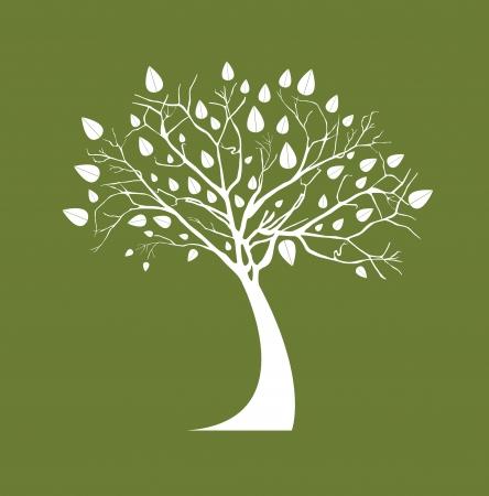 bomen zwart wit: Witte boom over olijfolie achtergrond vector illustratie Stock Illustratie