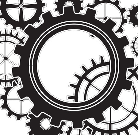 Black gear over white background vector illustration Vector