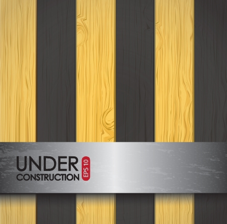 Under construction over yellow and black background vector illustration Vector