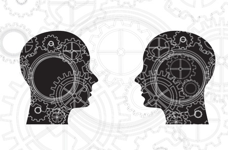 faces and gears over white background vector illustration Vector