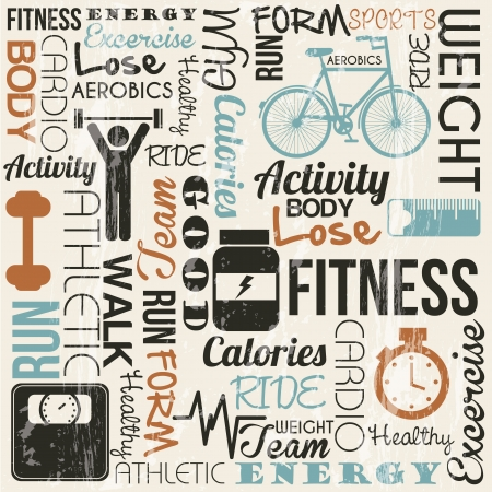fitness and health: grunge sfondo di fitness, stile vintage. illustrazione vettoriale