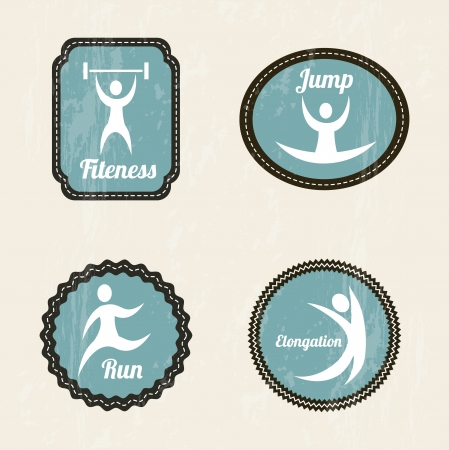 fitness labels over beige background. vector illustration Stock Vector - 19625931