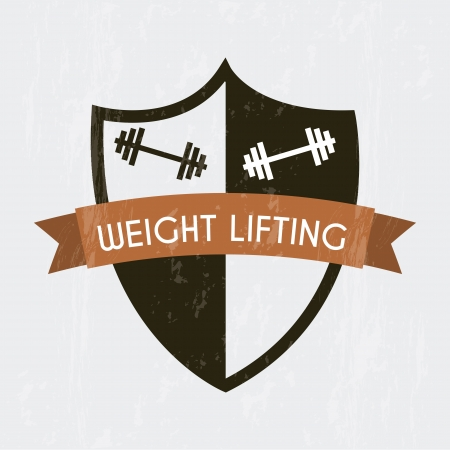 over weight: weight lifting sign over gray background. vector illustration