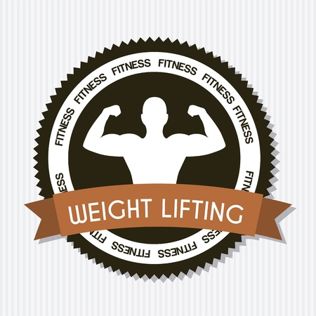health and fitness: fitness label over gray background. vector illustration Illustration