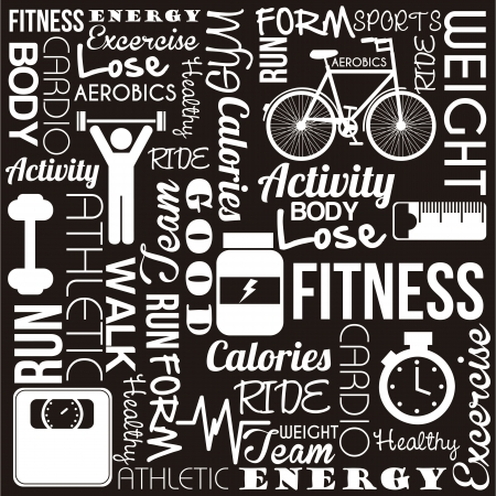 fitness words over black background. vector illustration Vector