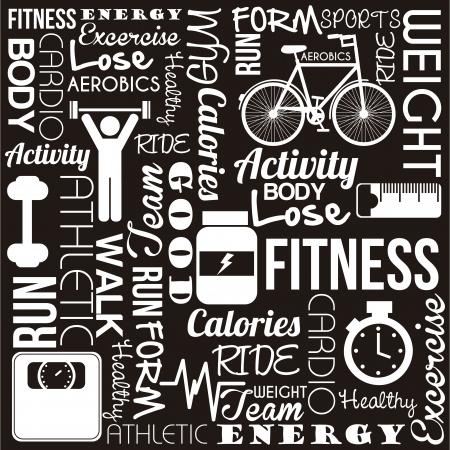 Fitness Worte über schwarzem Hintergrund. Vektor-Illustration