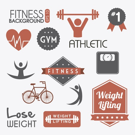 fitness labels over gray background. vector illustration Vector