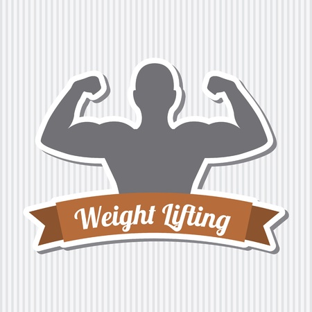 weight training: fitness label over gray background. vector illustration Illustration