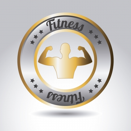 metallic fitness label over gray background. vector illustration Stock Vector - 19625715