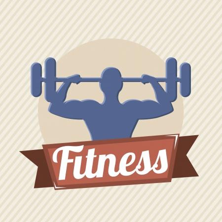 fitness label over beige background. vector illustration Vector