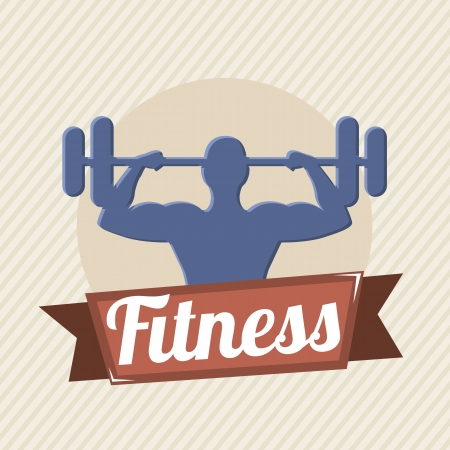 fitness label over beige background. vector illustration Stock Vector - 19625704