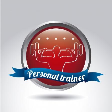 elite sport: personal trainer over gray background. vector illustration