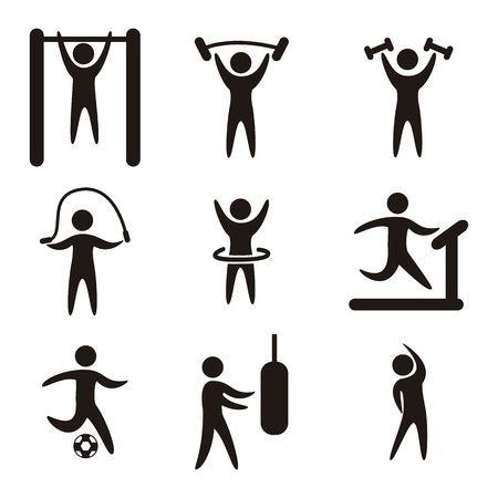 strong: fitness icons over white background. vector illustration Illustration